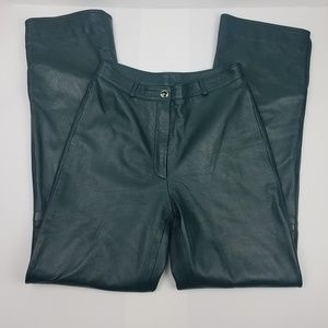 St John collection 100% green leather pants SZ 4